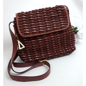 Vintage Sharif Brown Leather Woven Crossbody Bag